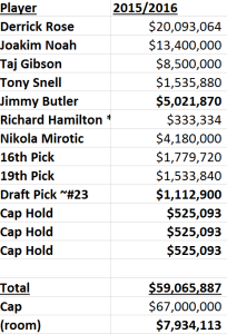 Bulls 2015 Plan Salaries