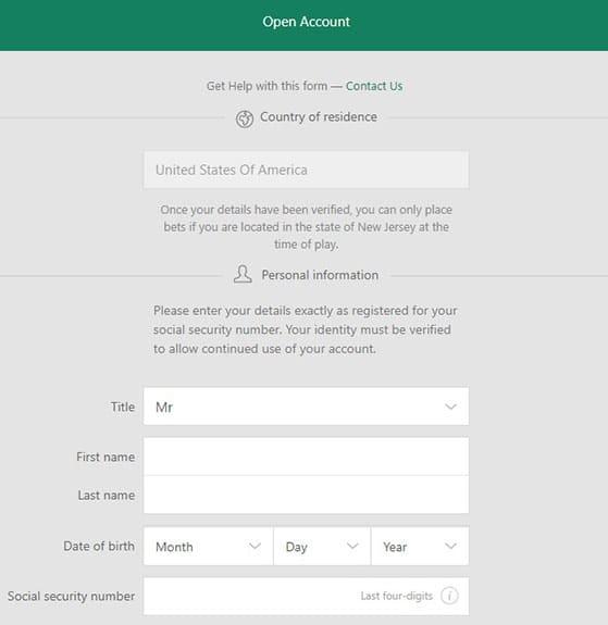 Bet365 Registry Step 1