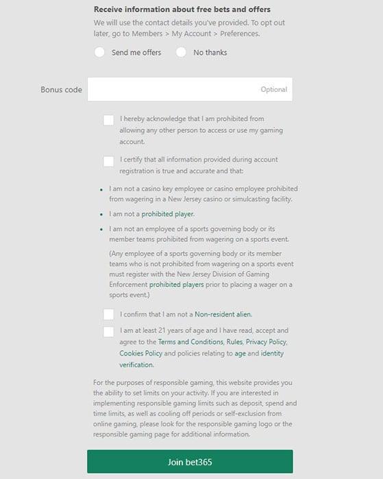 Bet365 Registry Step 4