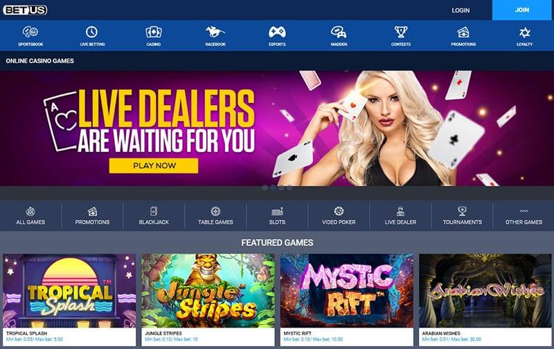 BetUS Casino Page