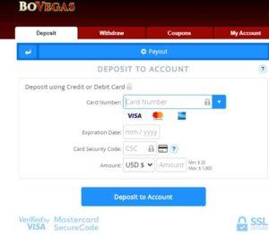 BoVegas Make a Deposit