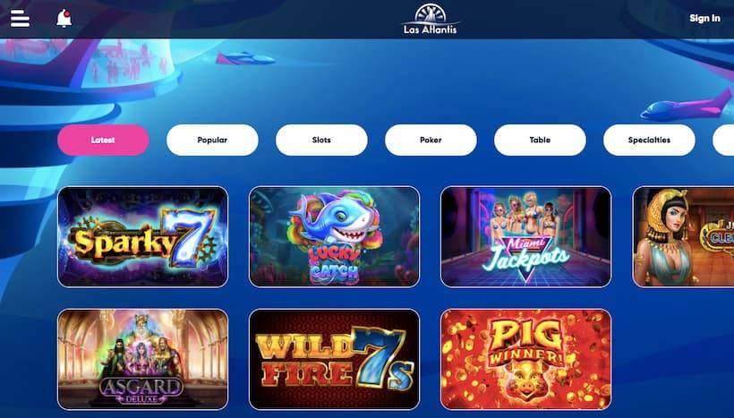 拉斯亞特蘭蒂斯擁有佛羅里達州在線賭場網站最好的遊戲集之一