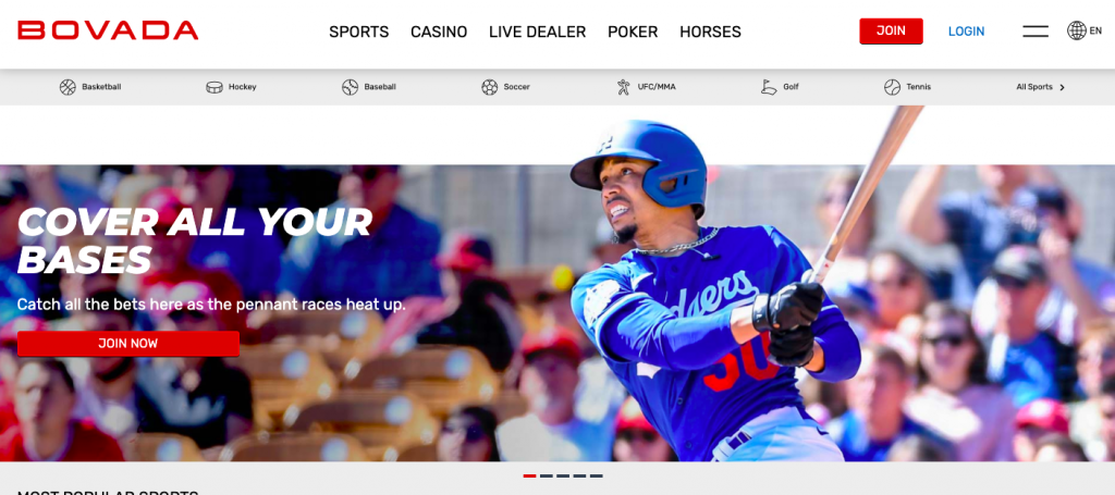 Bovada has all the top bases covered when it comes to betting