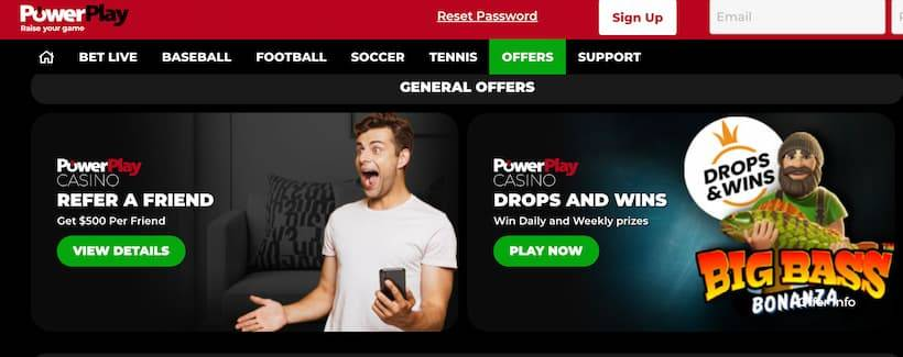 PowerPlay's landing page for sports bettors in Prince Edward Island