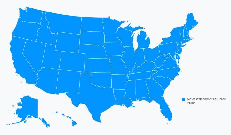 BetOnline Poker Region Map