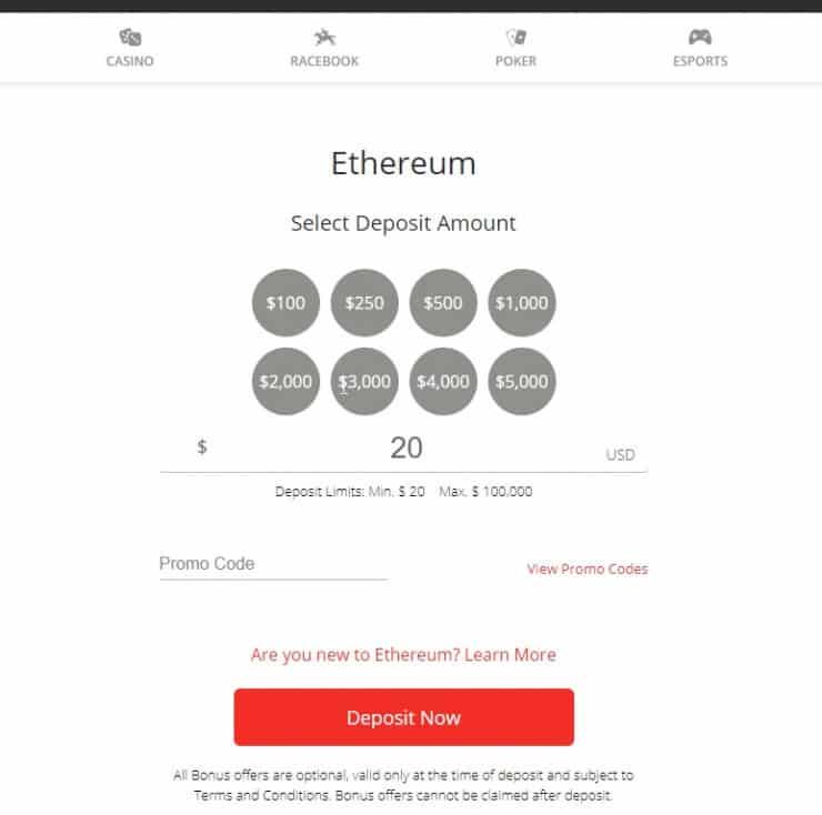 BetOnline-deposit-ethereum-amount