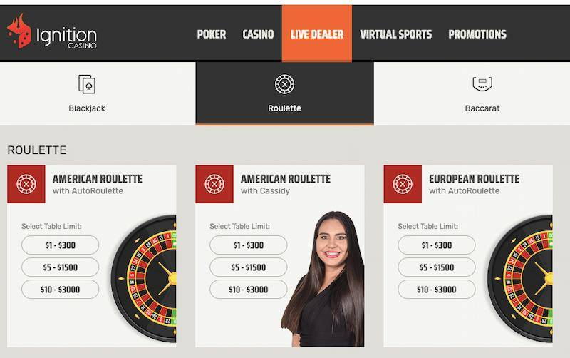 Ignition Live Roulette