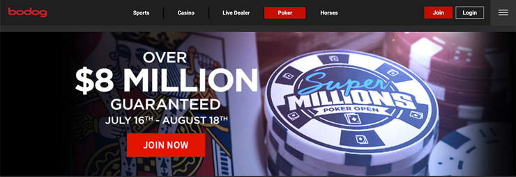An example of a Canada Gambling Site that offers Poker: Bodog