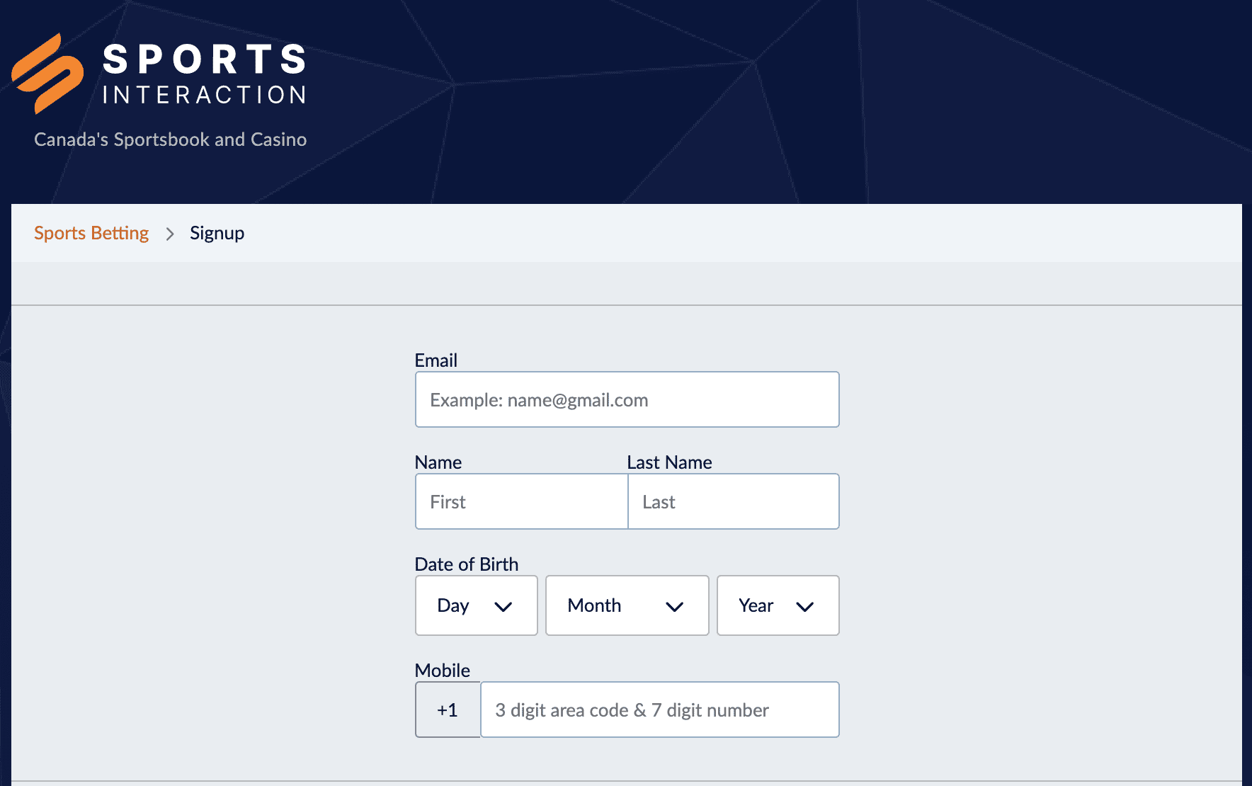 Sports Interaction Signup