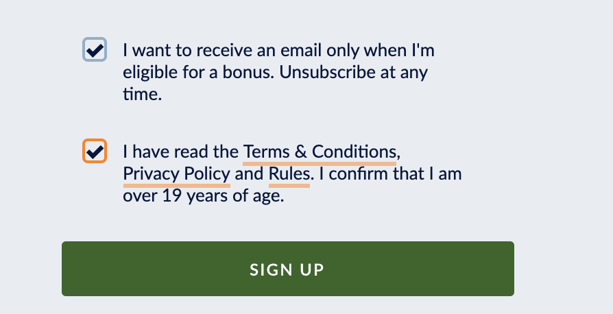 Accept Terms and conditions during signup at Sports Interaction