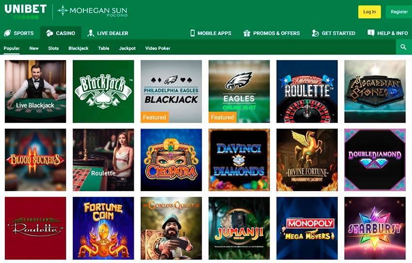 Unibet Casino Homepage
