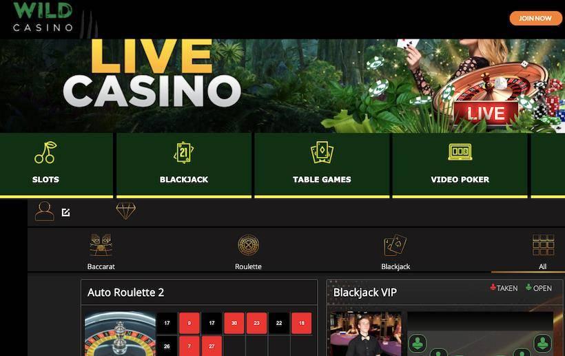 Wild Casino live casino page