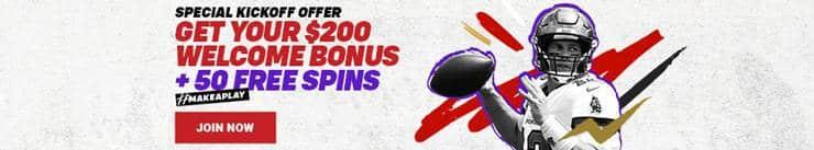 Bodog Promotional Banner: 200 CAD + 50 freespins in bonus