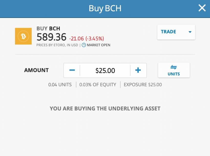 eToro Buy Bitcoin Cash