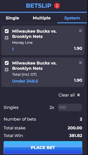 An example of a parlay bet betslip
