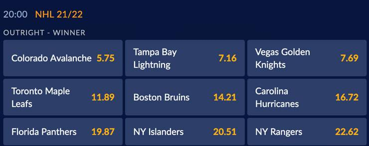 An example of a futures bet on the NHL