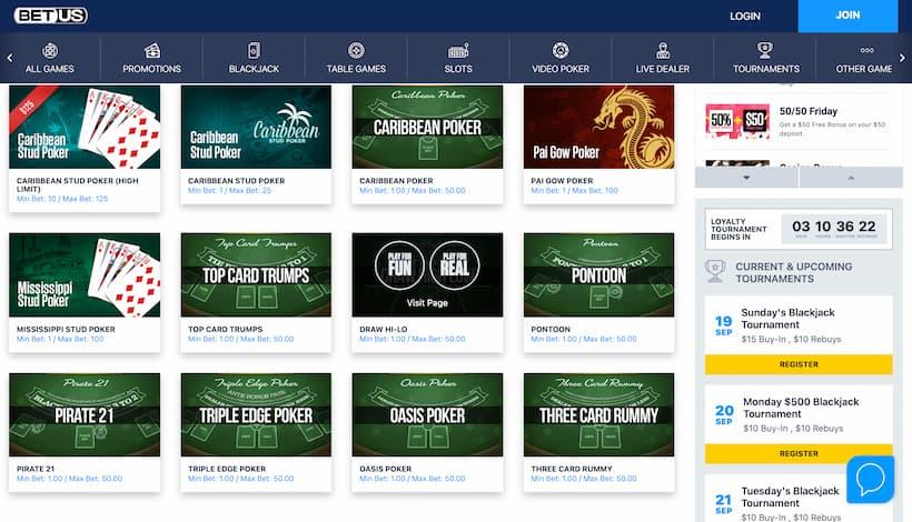 BetUS Top caribbean Poker Casinos image