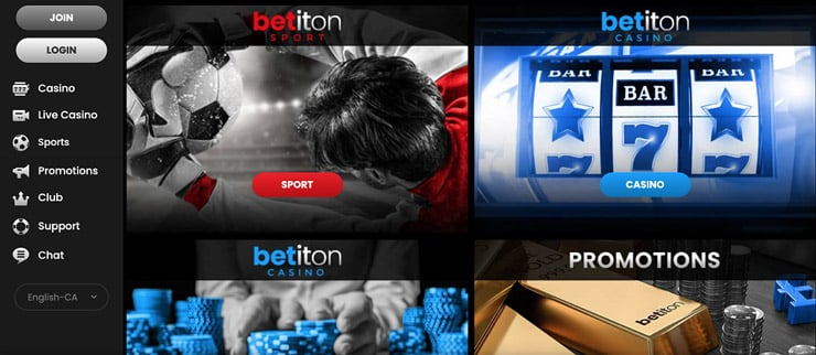 The front page of the Yukon sports betting site Betiton