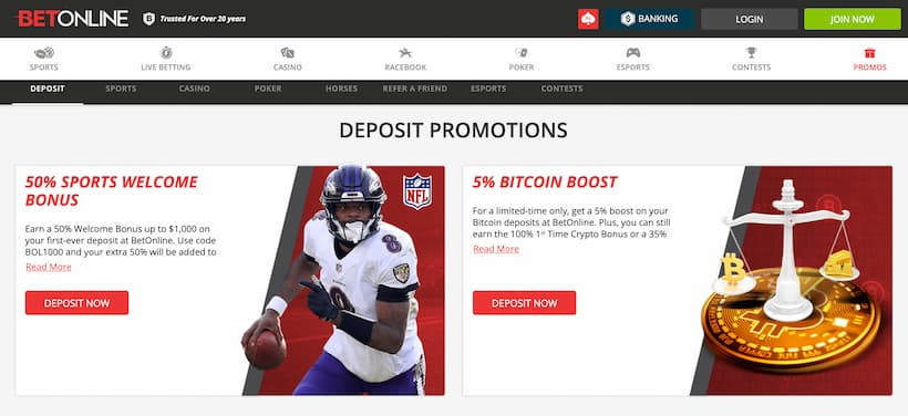 BetOnline Promo Page best Bitcoin sportsbook betting sites image