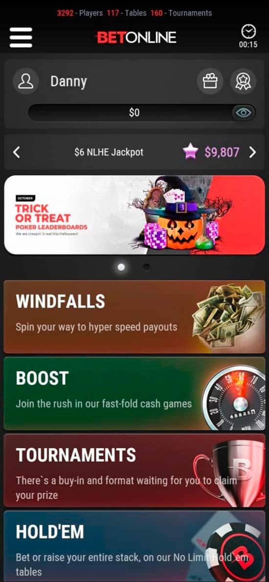 BetOnline Mobile Poker App