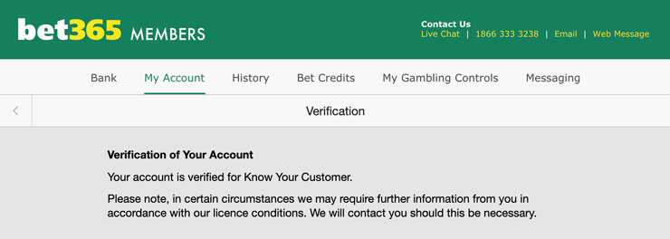 KYC Verification at the Canadian Casino Bet365