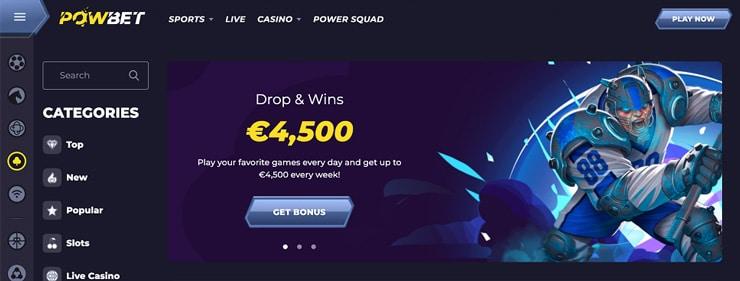 Screenshot From The Canadian Gambling Site PowBet