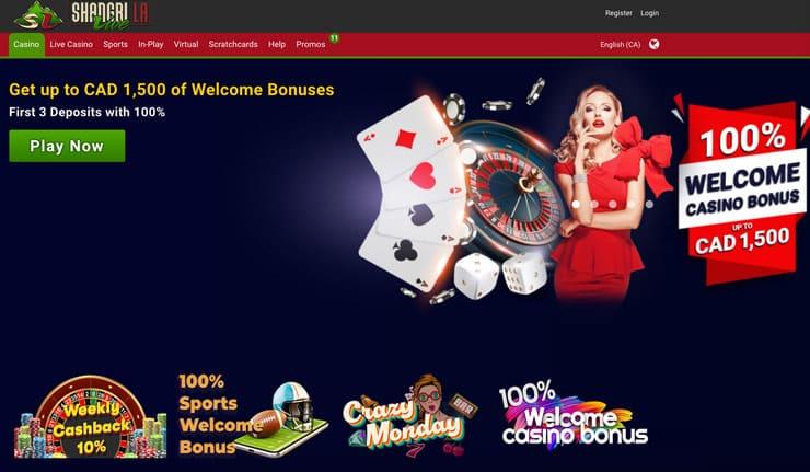 Shangri La offers the best bonus of any Canadian Gambling Sites