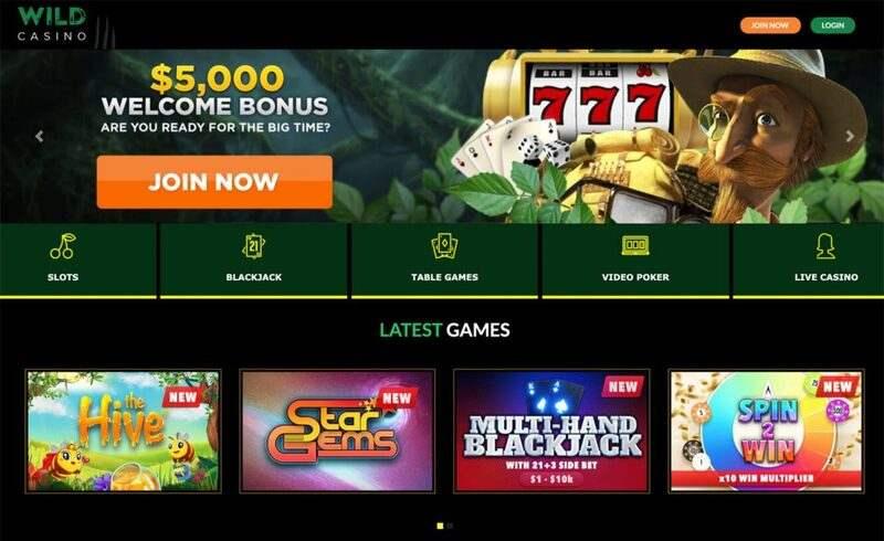 Wild Casino Online Sign-up Form for $5000 Welcome Bonus