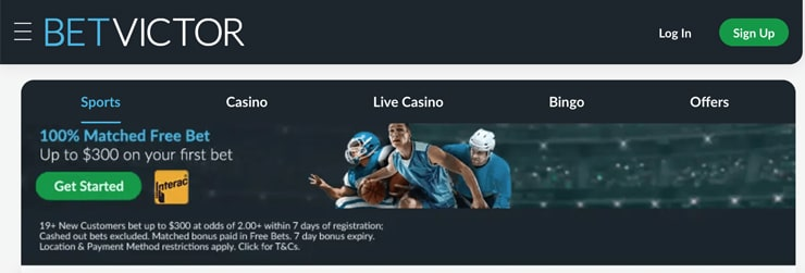 BetVictor's landing page for sports bettors in Yukon
